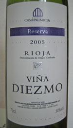 Vina Diezmo Rioja Reserva Casa Primicia 2005