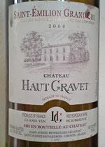 Saint Emilion Chateau Haut Gravet 2006