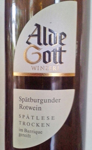 Alde Gott Spätburgunder Spätlese 2009