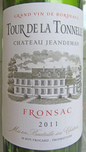 Chateau Jeandeman Tour de la Tonnelle Fronsac 2011