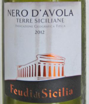 Nero d'Avola Terre Siciliane Pasqua Fuedi di Sicilia 2012