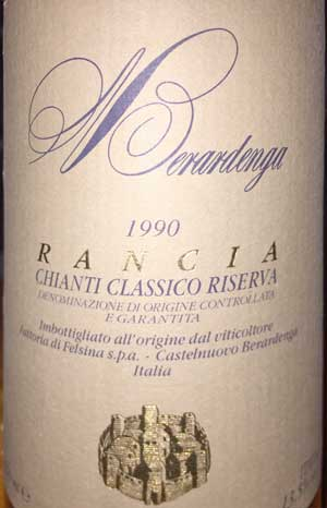Rancia Chianti Classico Riserva 1990