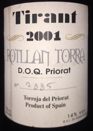 Bodegas Rotllán Torra Tirant 2001