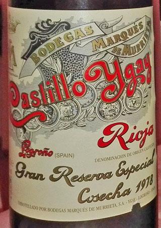 Marques de Murietta Castillo Ygay 1978