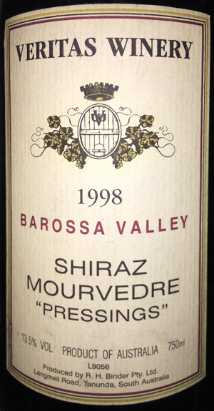 Veritas Shiraz Mourvedre Pressings 1998