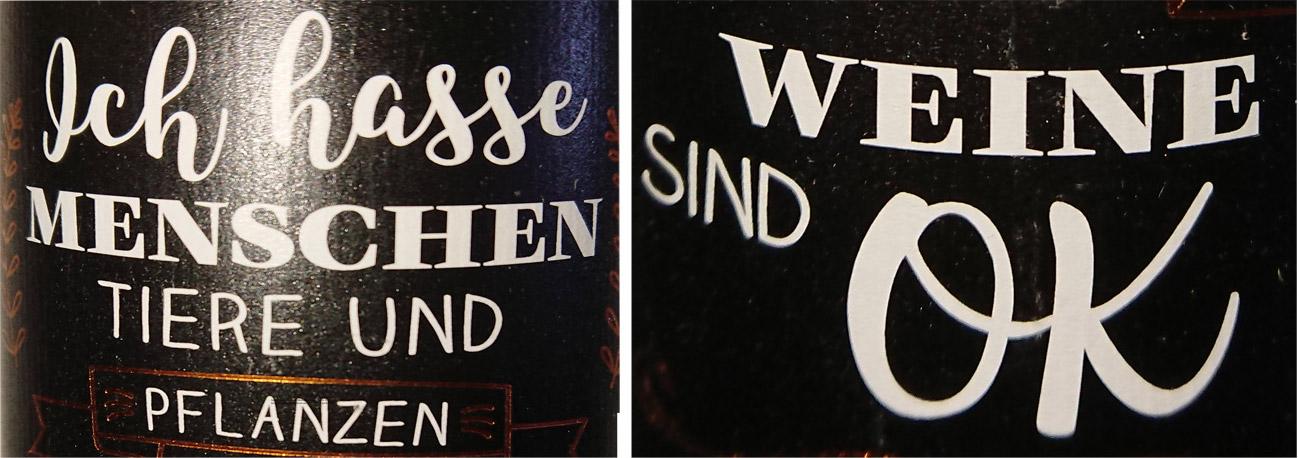 Feser Rivaner Etikett Wein ist OK