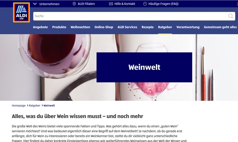 Weinwelt Aldi Header